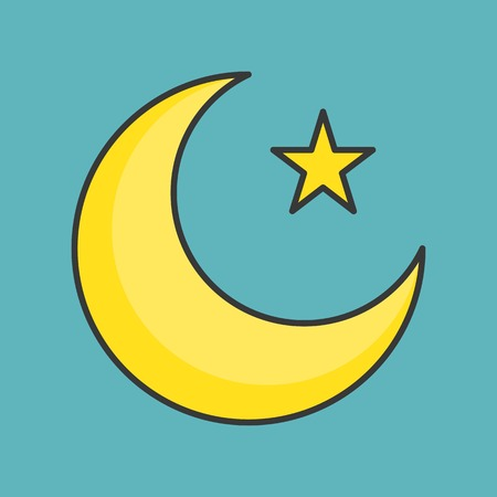 Muslim moon and star, filled outline icon Ilustrace