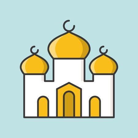 Mosque or masjid, filled outline icon for ramadan mubarak Vector illustration. Illustration
