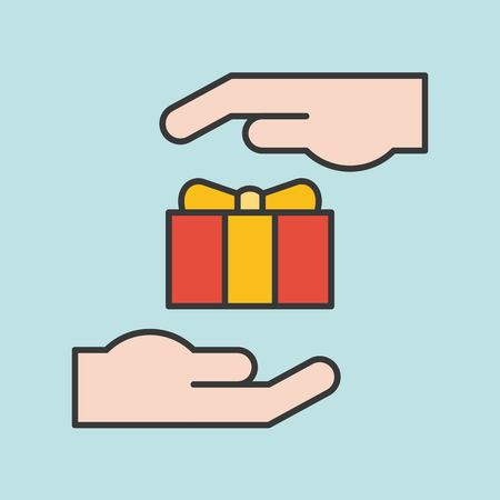 Hand and gift box, ramadan and Eid Mubarak filled outline icon Illustration
