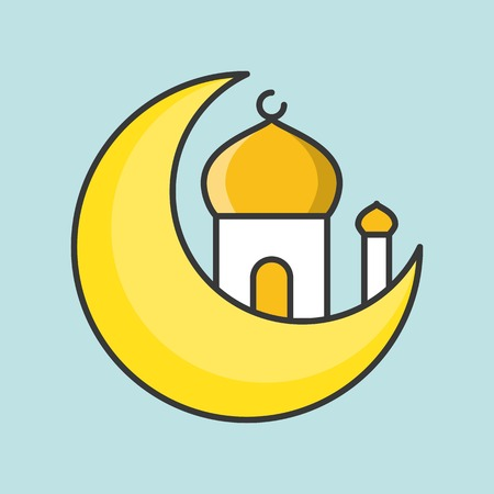 Mosque and moon, Ramadan filled outline icon