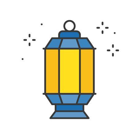 Ramadan Kareem lantern, filled outline icon 向量圖像
