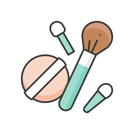 Make up brush, eye shadow brushes and powder puff, filled outline icon