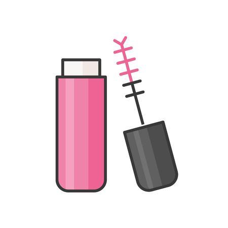 Lip gloss tube or color mascara, filled outline icon Illustration