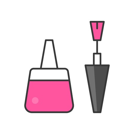Nail polish icon for manicure, filled outline design vector illustration