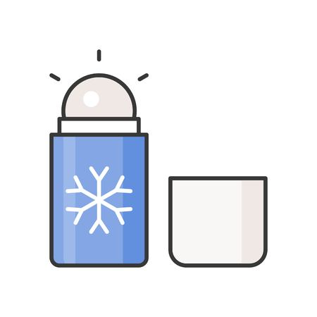 Menthol roll on deodorant, personal care product icon Illustration