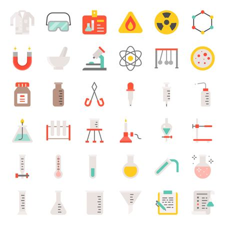 laboratory equipment, chemistry analytical concept, flat icon Illustration