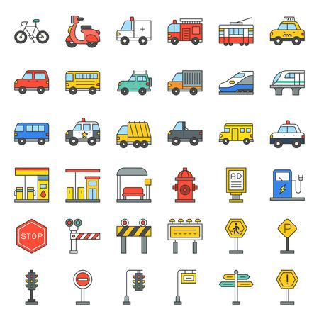 Transportation set with sign on road side, filled outline icon