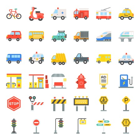 Transportation set with sign on road side, flat icon  イラスト・ベクター素材