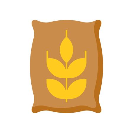 wheat  in sack, flat icon vector for gardening and farming Illustration