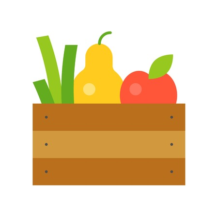 Fresh fruits and vegetable in wooden crate, flat icon Banque d'images - 108890570