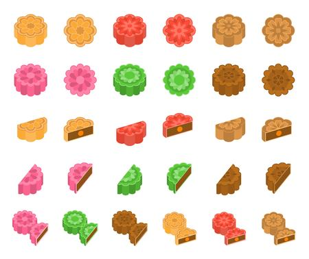 Chinese Mooncake for mid autumn festival in various taste, flat design Çizim