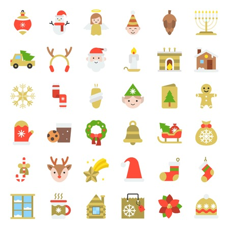Merry Christmas set 5, Christmas party and decoration concept flat icon