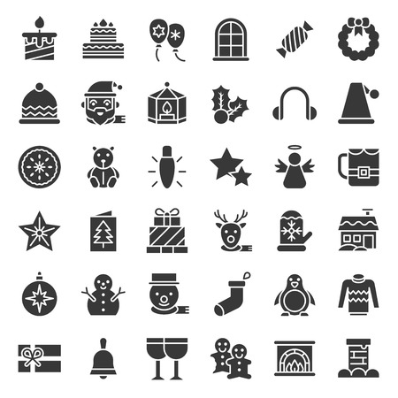 Merry Christmas related icon set 4, glyph icon