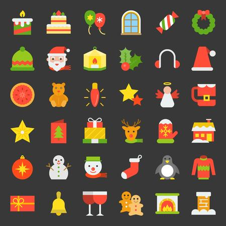 Cute Merry Christmas icon set 4, flat icon