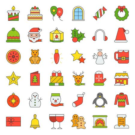 Cute Merry Christmas icon set 4, filled outline editable stroke Illustration