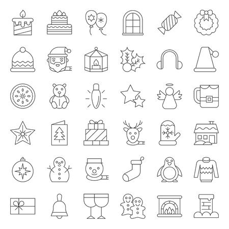Cute Merry Christmas icon set 4, outline editable stroke