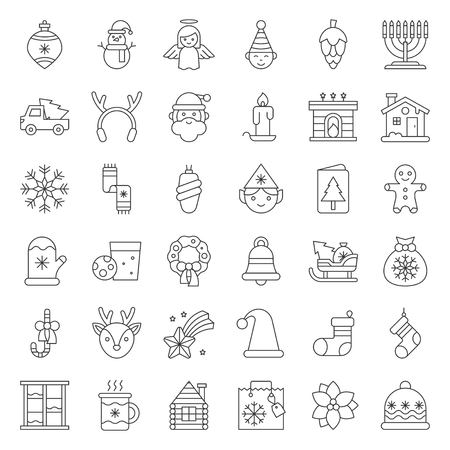 Merry Christmas set 5, Christmas party and decoration concept, outline icon editable stroke