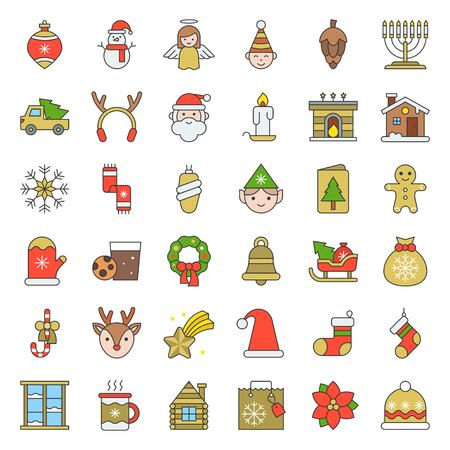 Merry Christmas set 5, Christmas party and decoration concept, filled outline icon editable stroke