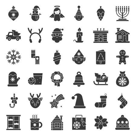 Merry Christmas set 5, Christmas party and decoration concept solid icon
