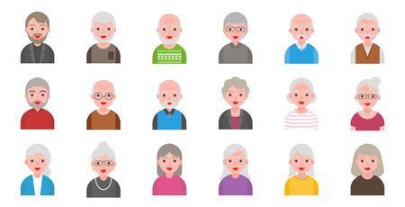Ilustración de personas mayores aisladas sobre fondo blanco en estilo plano, icono de píxel perfecto