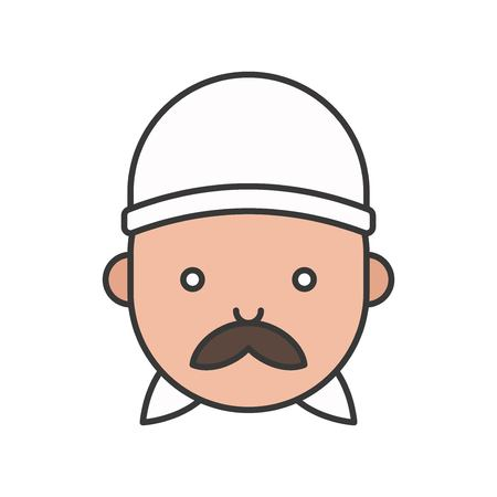 Cute asian chef head filled outline icon, editable stroke