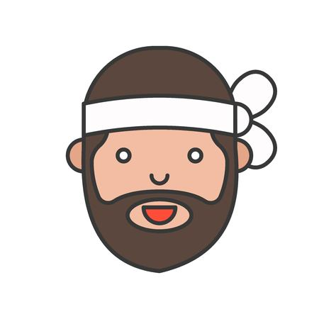 Cute men chef head filled outline icon, editable stroke