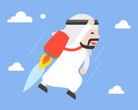 Cute arab businessman flying in sky with jetpack, leader concept flat design