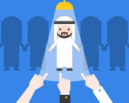 Hand pointing at Cute arab businessman, flat design business situation recruitment candidate concept