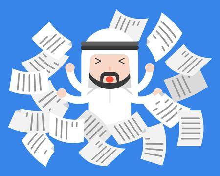Cute Arab businessman distress or frustrate with flying paper, business situation work life balance concept, flat design Illustration