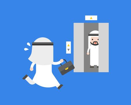 Cute arab businessman rushing runing to elevator before door closing , flat design business situation of daily life in office concept