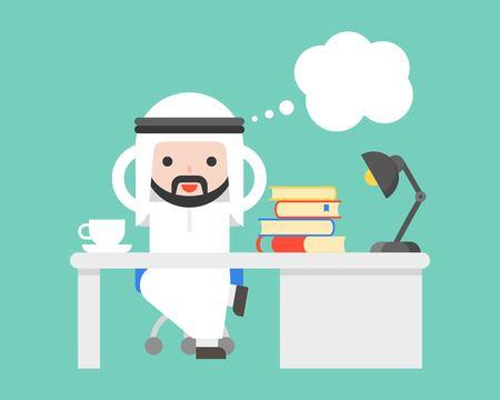 Cute Arab saudi businessman thinking at office and blank bubble speech, flat design