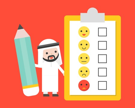 Cute Arab businessman holding giant pencil with customer feedback survey, business template for survey concept, flat design