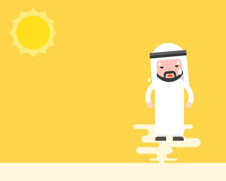 Cute arab businessmen sweating under sunlight, forecast and global warming concept flat design