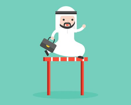 Cute arab businessman jump cross over hurdles illustration, flat design business situation overcome obstacle concept