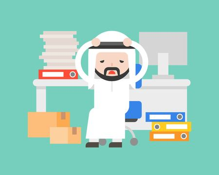 Cute Arab businessman stressed and burnout , business situation stressed in workplace concept, flat design