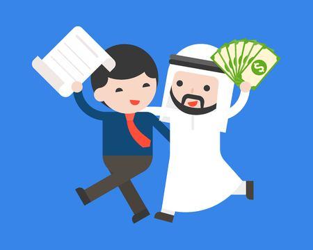 Cute arab businessman carry cash hug business man carry contract , flat design business situation dealing success or partnership concept Ilustração Vetorial