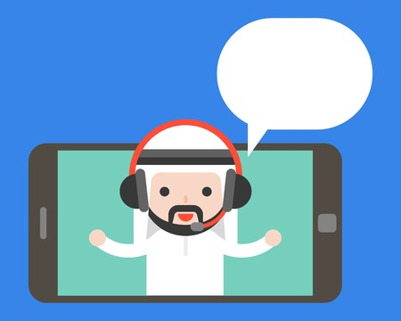 Cute Arab businessman with headphone on tablet or smartphone screen and blank bubble, business e commerce communication online concept. Flat design