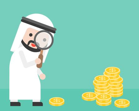 Cute arab businessman looking money through magnifying glass, business situation searching money concept, flat design vector
