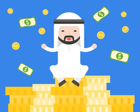Cute Arab businessman sitting on pile of gold coins , business situation rich, wealthy and successful concept, flat design
