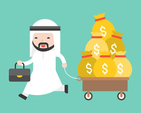 Happy Cute arab business man pulling cart which full with money bag, business situation concept about oil industry or entrepeneur, flat design Illustration