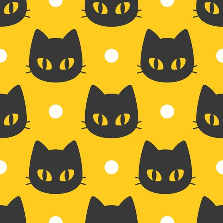 Spooky Halloween cute black cat, seamless pattern, flat design with clipping mask