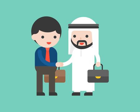 Cute arab business man shake hands with business man, deal or cooperation success situation concept, flat design