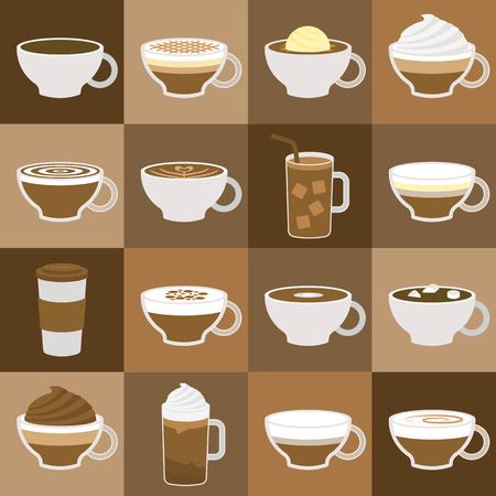 different types of coffee menu in flat design, vector illustration