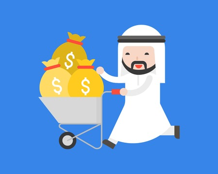 Happy Cute arab business man push cart which full with money bag, business situation concept about oil industry, flat design