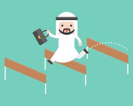 Arab business man jump over hurdle, flat design break trough obstacle Illustration