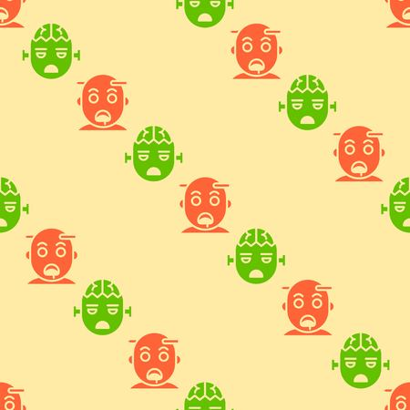 zombie, Spooky Halloween seamless pattern, flat design with clipping mask Illustration