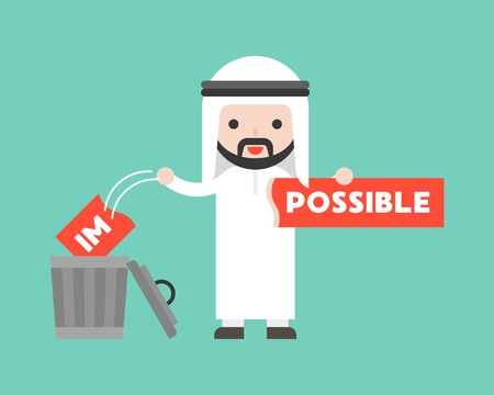 Arab businessman change the impossible sign to possible, and throw in trashcan, flat design motivation concept