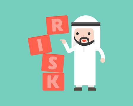 Finger push the risk block with Arab businessman stand, risk management concept flat design