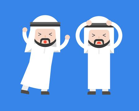 Two panic Arab businessman, conflict in workplace flat illustration concept 일러스트