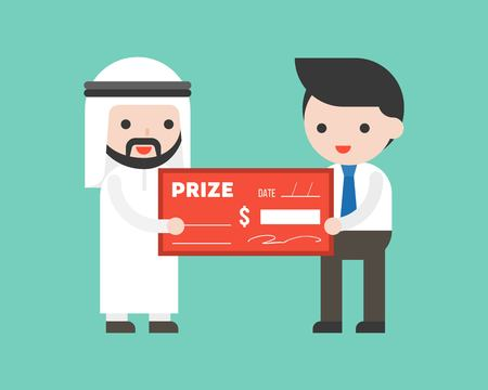 Arab businessman receiving a big money check prize from CEO, flat design